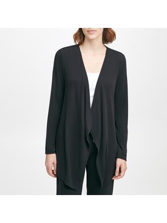 CALVIN KLEIN - Long Sleeve Knit Front Drape Cardigan BLK