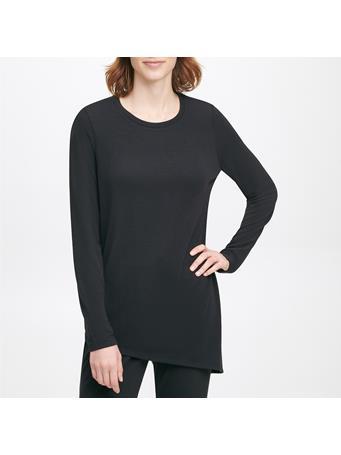 CALVIN KLEIN - Long Sleeve Knit Asym Hem Top BLK