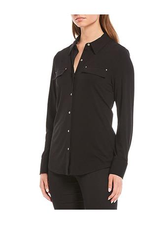 CALVIN KLEIN - Long Sleeve Knit Boyfriend Shirt Western BLK