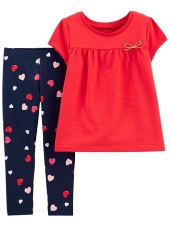 CARTER'S - 2-Piece Heart Top & Legging Set RED