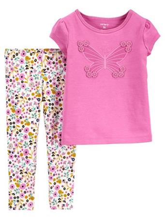 CARTER'S - 2-Piece Butterfly Jersey Tee & Legging Set NOVELTY