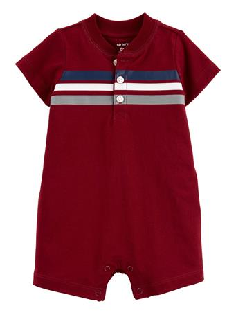 CARTER'S - Striped Jersey Romper RED