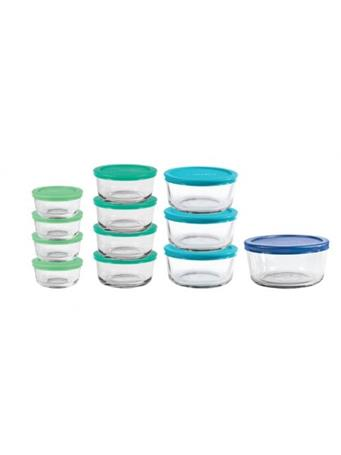 ANCHOR HOCKING - Classic 24 Piece Round Glass Food Storage Set with Mixed Blue Lids No Color