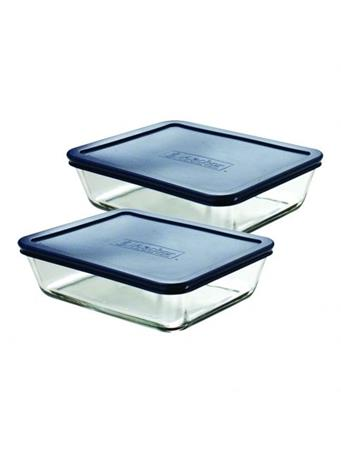 ANCHOR HOCKING - Classic Rectangular Glass Food Storage with Navy Lid, 6 Cups, Set of 2 No Color