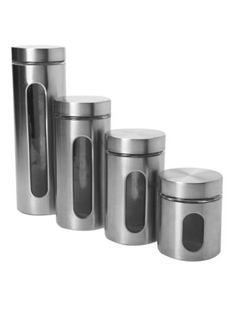 ANCHOR HOCKING - Palladian Window Cylinder 4 Piece Set in Stainless Steel No Color