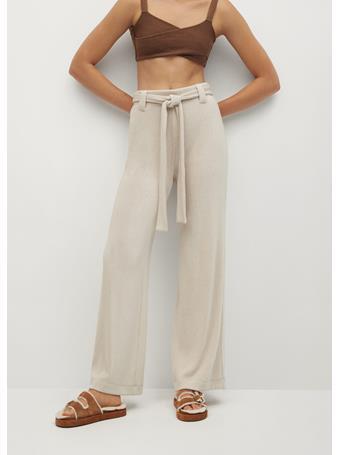 MANGO - Belt Straight-fit Pants LIGHT BEIGE
