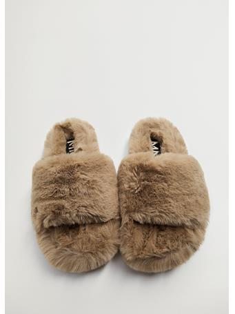 MANGO - Faux-fur Felt Sandals DARK BROWN