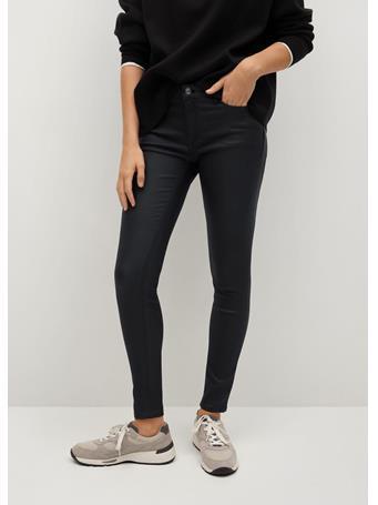 MANGO - Coated Kim Skinny Push-up Jeans BLACK
