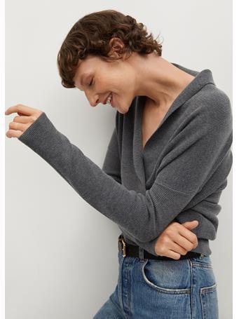 MANGO - Crossed Knit Sweater DARK GREY