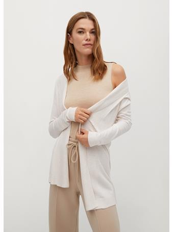 MANGO - Fine-knit Cardigan NATURAL WHITE