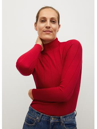 MANGO - Ribbed Long-sleeved T-shirt BRIGHT RED