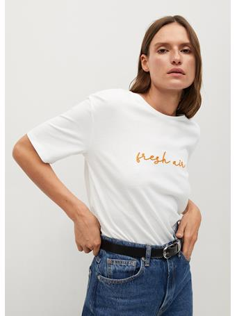MANGO - Short-sleeved T-shirt With Message WHITE