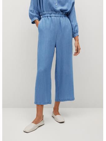 MANGO - 100% Lyocell Culotte Pants LT-PASTEL BLUE