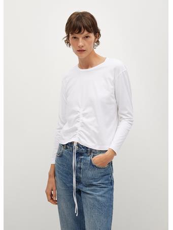 MANGO - Long-sleeve T-shirt With Ruffles WHITE