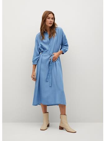 MANGO - Denim-effect Dress LT-PASTEL BLUE