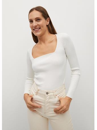 MANGO - Ribbed Fine-knit Sweater WHITE