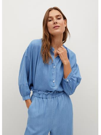 MANGO - Denim Lyocell Shirt LT-PASTEL BLUE