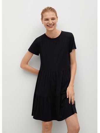MANGO - Fluted Hem Dress BLACK