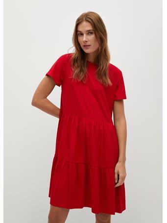 MANGO - Fluted Hem Dress BRIGHT RED