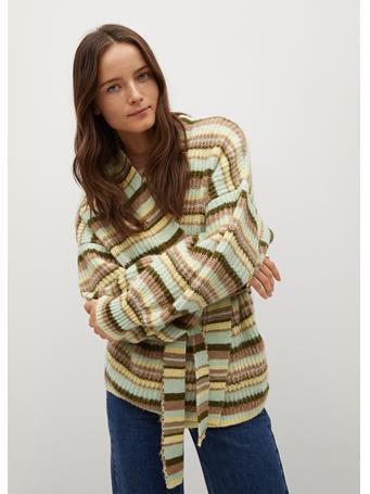 MANGO - Oversized Striped Cardigan AMARILLO PASTEL