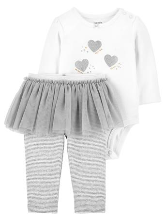 CARTER'S - 2-Piece Glitter Heart Bodysuit & Tutu Pant Set NOVELTY