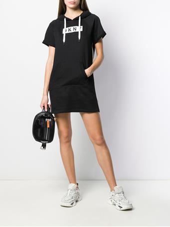 DKNY - Embroided Logo Hoodie Dress BLACK