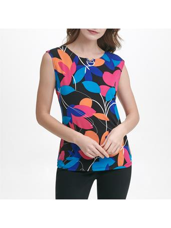 CALVIN KLEIN - Logo Print Cap Sleeve Knit Top X8M