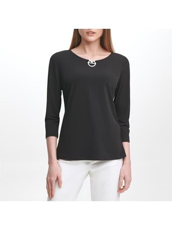 CALVIN KLEIN - Logo 3/4 Sleeve Knit Top BLACK