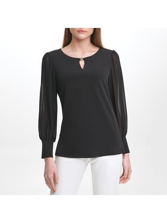 CALVIN KLEIN - Long Sheer Sleeve Knit Body Top BLK
