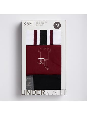 UNDERSTATED - 3 Piece Set Tee, Boxer & Sock Set CABERNET/ BLACK
