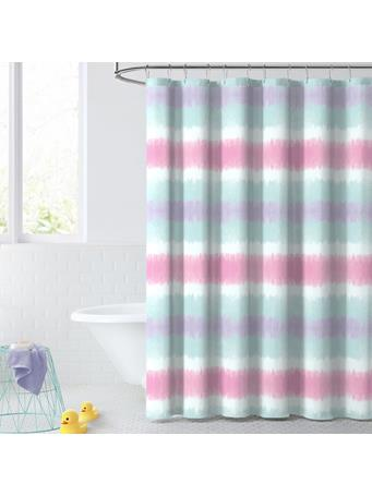 DREAM FACTORY - Tie Dye Stripe Shower Curtain PINK
