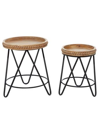 EDEN & WEST - Round Wood Tray Top & Metal End Tables WOOD