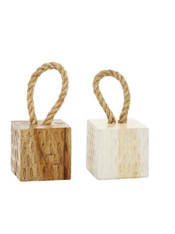 UMA INC. - Brown & White Teak Wood Coastal Door Stop NATURAL