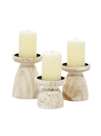 EDEN & WEST - Distressed White Turned Wood Candle Holders WHITE