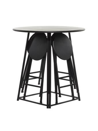 EDEN & WEST - Round Dining Table with Colapsible Stools BLACK