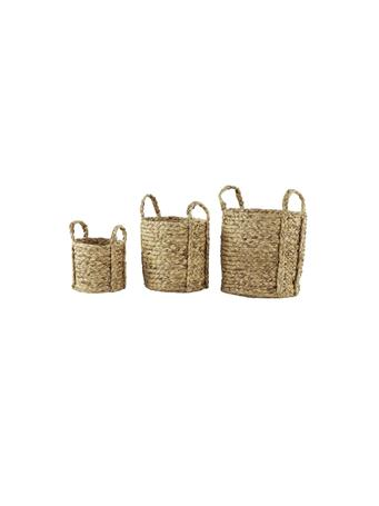 EDEN & WEST - Round Natural Seagrass Wicker Basket Planters with Handles (Set of 3) BROWN