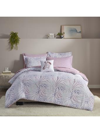 INTELLIGENT DESIGN  -  Nisha Zebra Printed Comforter and Sheet Set LAVENDER
