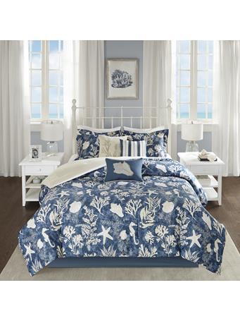 MADISON PARK  - Cape Cod 7 Piece Cotton Sateen Comforter Set BLUE