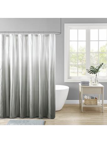 MADISON PARK  -  Ombre Printed Seersucker Shower Curtain GREY