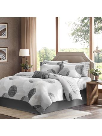 MADISON PARK ESSENTIALS  -  Knowles Complete Comforter and Sheet Set GREY