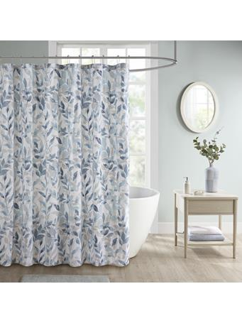 MADISON PARK ESSENTIALS  -  Sofia Botanical Printed Shower Curtain BLUE