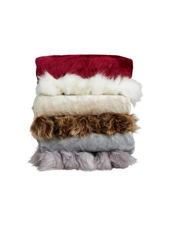 SIGNATURE DESIGN - Pom Pom Faux Fur Plush Throw BEIGE