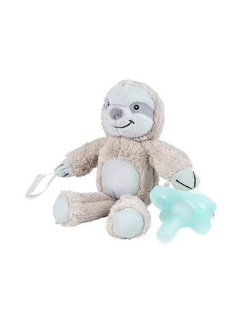 DR. BROWN'S - Lovey Pacifier and Teether Holder, 0-6m, Sloth With Teal Pacifier NOVELTY