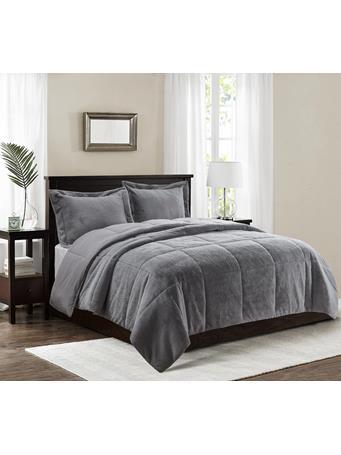 MAISON LUXE - Celestial Faux Fur Comforter Set CHARCOAL