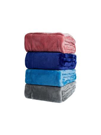 SIGNATURE DESIGN - Dip Dye Sherpa Throw BLUE