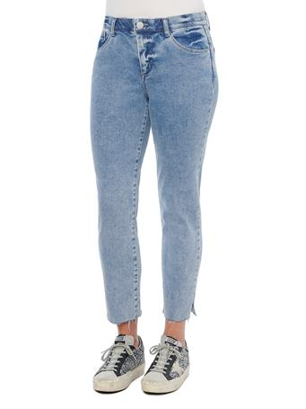 DEMOCRACY - Ab Solution High Rise Vintage Skinny Raw Hem Blue Denim Jeans LIGHT BLUE