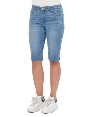 DEMOCRACY - Ab Solution Raw Hem Mid Blue Denim Bermuda Shorts MID BLUE ARTISANAL