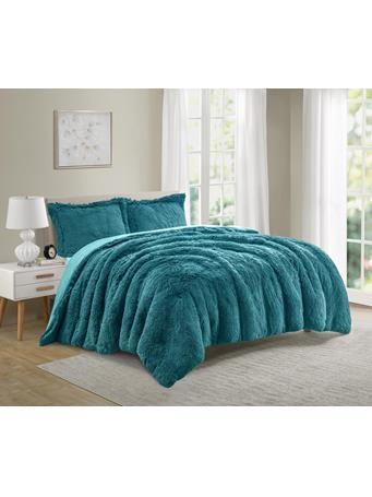 MAISON LUXE - Florence Shaggy Fur Comforter TEAL