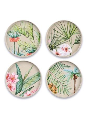 TARHONG - Palermo Tropical 4 Piece Salad Plate PALM ASSORTED