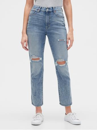 GAP - High Rise Distressed Cigarette Jeans LIGHT WASH